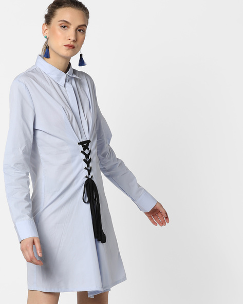 Shirt Dress With Tie-Up By AJIO ( Blue )