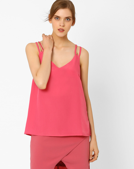 Solid Top With Straps By AJIO ( Pink )