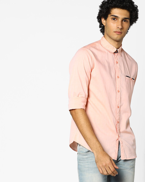 Slim Fit Shirt With Welt Pocket By AJIO ( Orange )