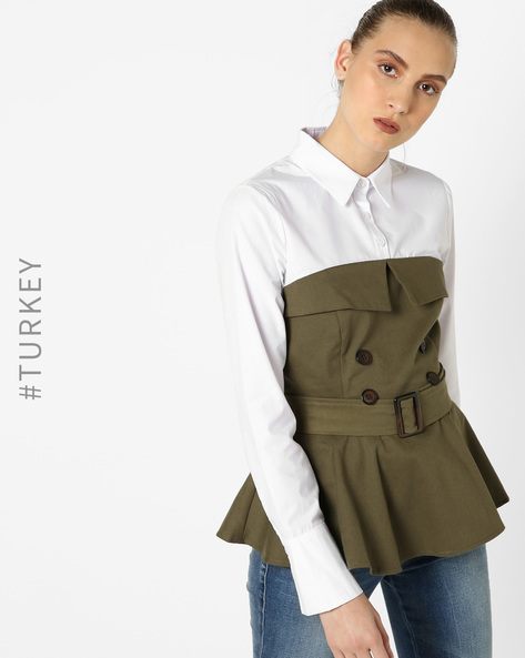 Peplum Top With Waist Belt By TRENDYOL ( Khaki )
