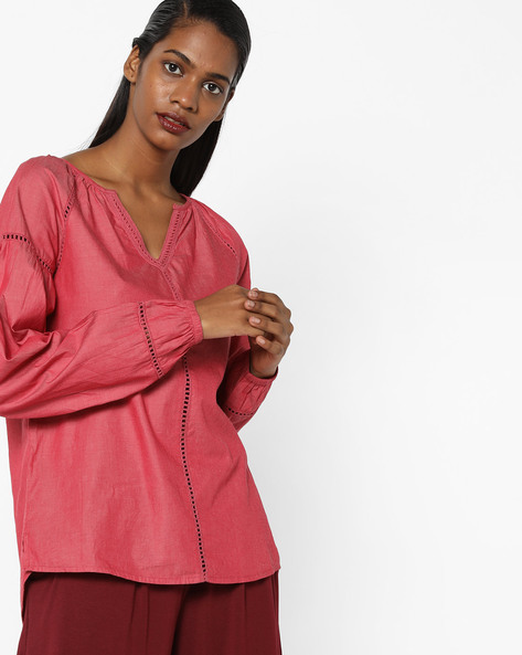 Panelled Top With Ladder Embroidery By AJIO ( Red )