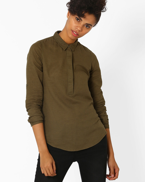 Cotton Top With Roll-Up Tabs By Vero Moda ( Green )