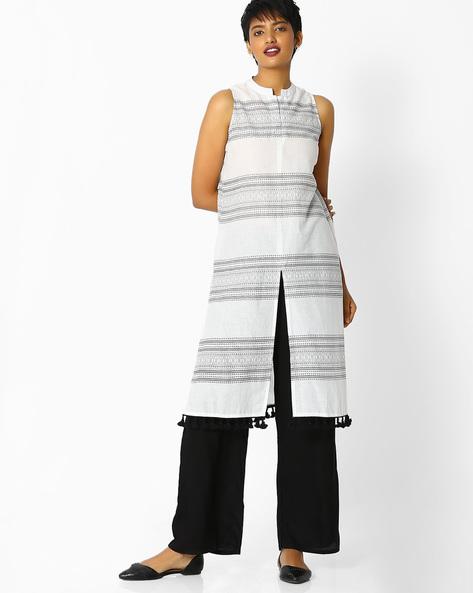 Printed Cotton Kurta Suit Set By Jaipur Kurti ( White )