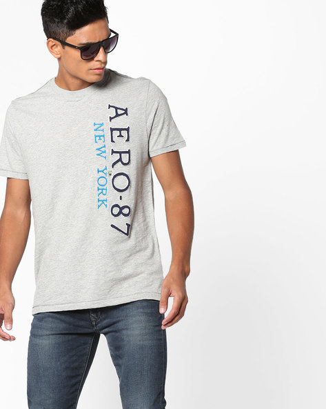 Crew-Neck T-shirt With Typographic Embroidery By Aeropostale ( Grey )