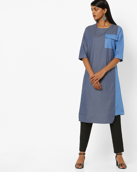 Colourblock Maxi Shift Dress By AJIO ( Blue )
