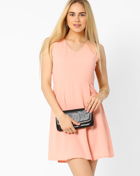 Solid Skater Dress By AJIO ( Pink )