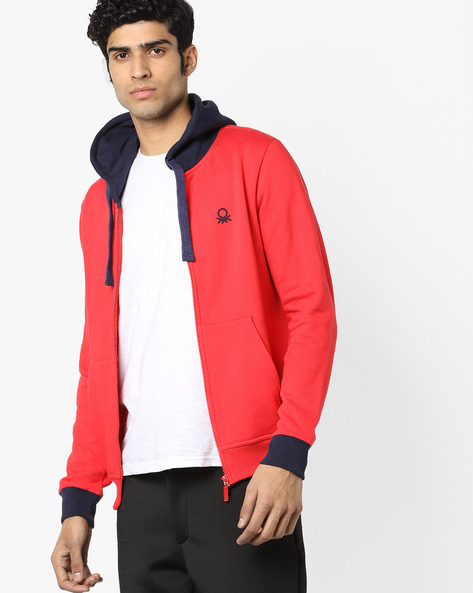 Hooded Sweatshirt With Front Zipper By UNITED COLORS OF BENETTON ( Red ) - 460145796006