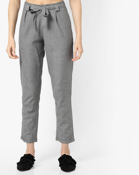 Flat-Front Trousers With Tie-Up By Project Eve WW Casual ( Grey )