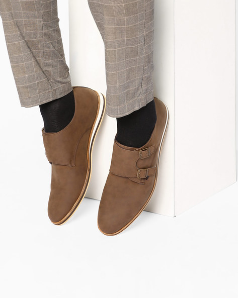 N9-Treated Casual Shoes With Monk Straps By AJIO ( Brown )