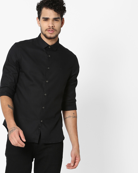 Slim Fit Shirt With Curved Hem By FLYING MACHINE ( Black )