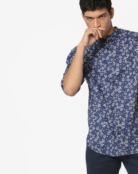 Floral Print Slim Fit Shirt By Jack & Jones ( Navyblue )