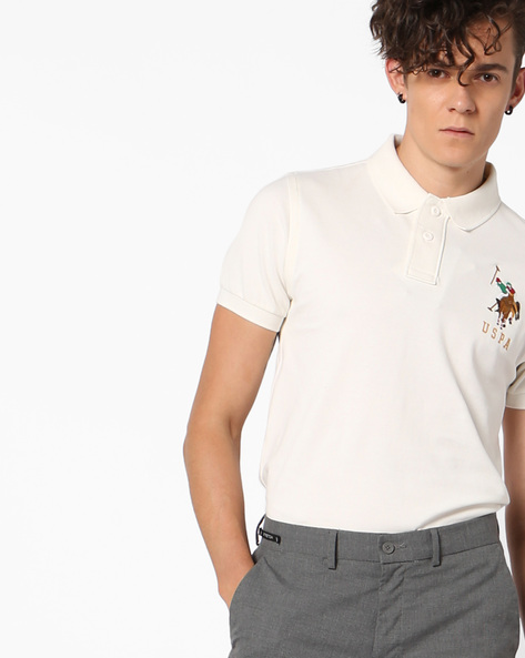 Polo T-shirt With Ribbed Hems By US POLO ( Ivory )