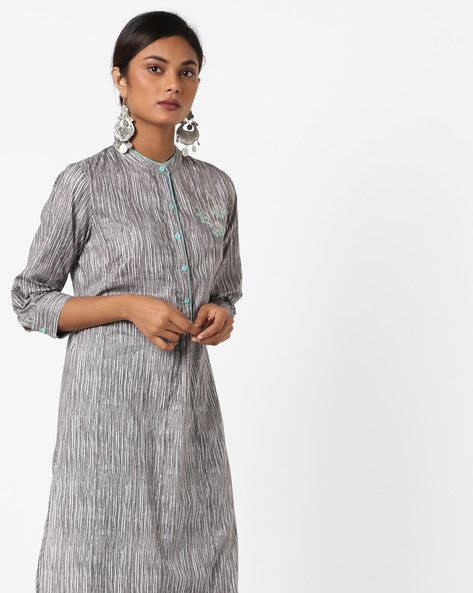 Printed Straight Tunic With Button Cuffs By AJIO ( Grey )