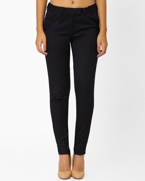 Slim Fit Trousers With Adjustable Waistband By AJIO ( Navyblue )