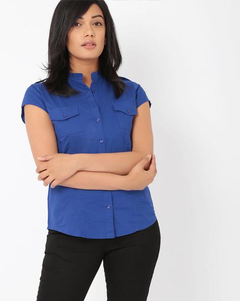 Shirt With Mandarin Collar By DNMX ( Navy )