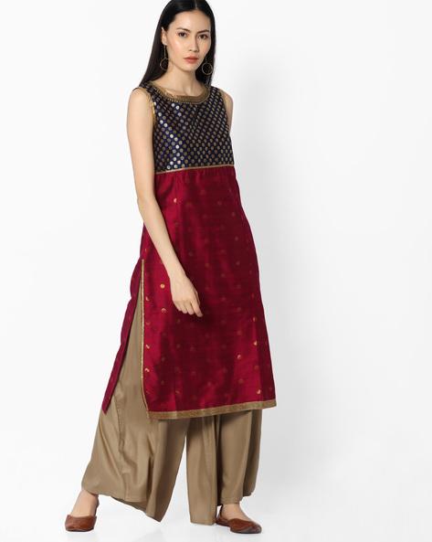 Embellished Kurta With Zari Work By OVI ( Cream )