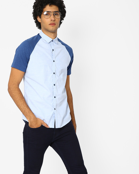 Slim Fit Shirt With Curved Hem By AJIO ( Blue )