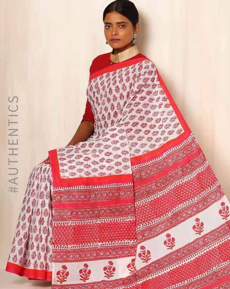 Sanganeri Handblock Print Cotton Mull Saree By Awdhesh Kumar ( Multi ) - 460051505001