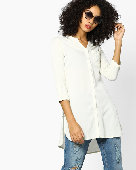 Tunic With High-Low Hem By FUSION BEATS ( Cream )