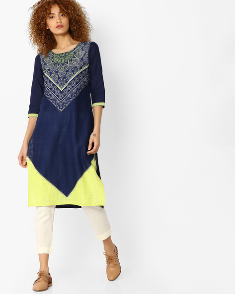 Printed Straight Kurta By AURELIA ( Blue ) - 440772797001