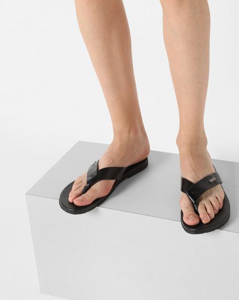Genuine Leather Flip-Flops By ALBERTO TORRESI ( Black )