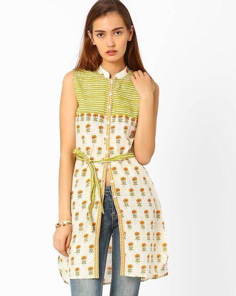 Printed Sleeveless Tunic By Biba ( Beige )