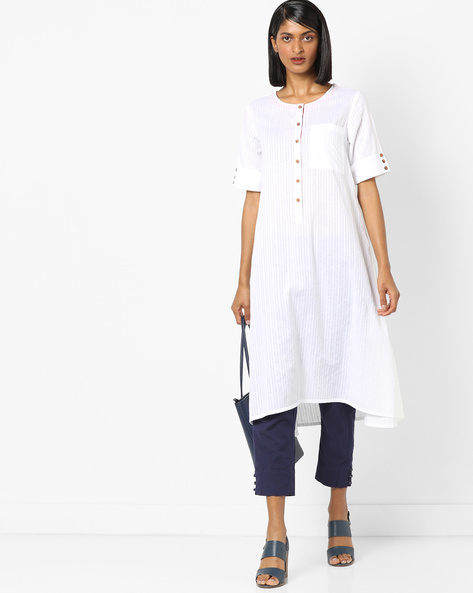 A-line Kurta With Embroidered Sleeve By AJIO ( White )