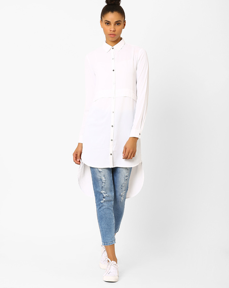 High-Low Shirt Tunic By Femella ( Offwhite )