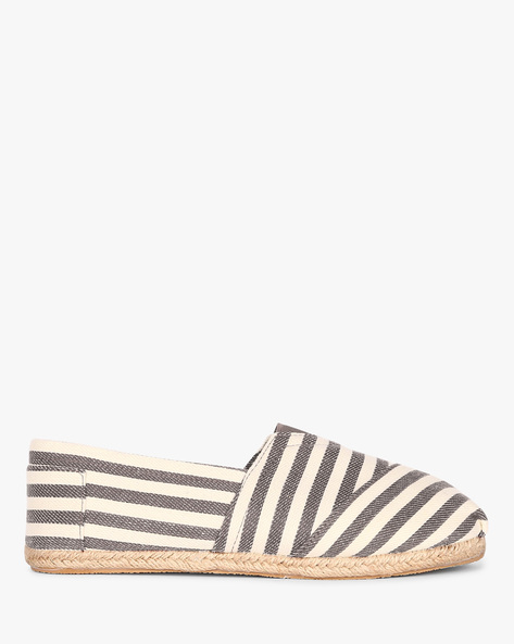 Striped Canvas Espadrilles By AJIO ( Grey )