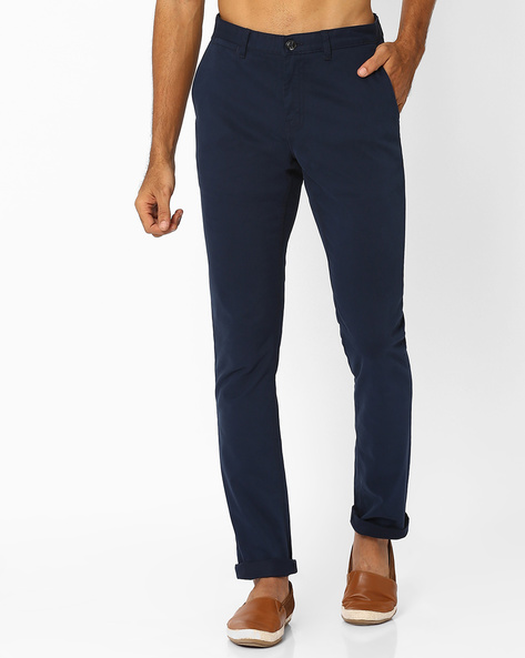 Flat-Front Slim Fit Trousers By NETPLAY ( Navy )