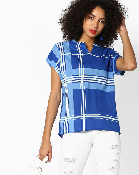 Checked Top With Magyar Sleeves By AJIO ( Blue )