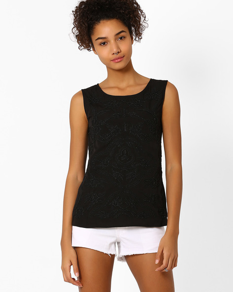 Embroidered Sleeveless Top By Vero Moda ( Black )