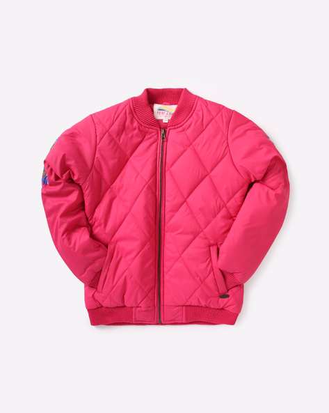 Quilted Bomber Jacket With Floral Embroidery By POINT COVE ( Pink )