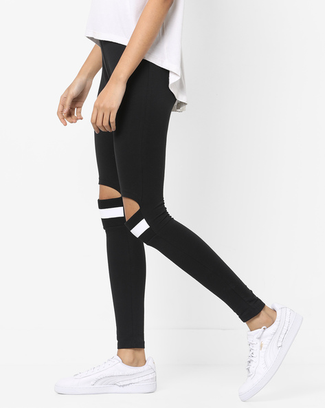 Mid-Rise Leggings With Cut-Outs By AJIO ( Black )