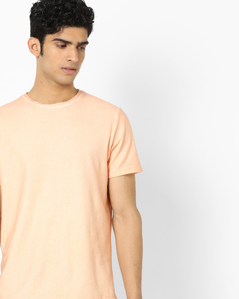 Regular Fit Crew-Neck T-shirt By AJIO ( Pink )