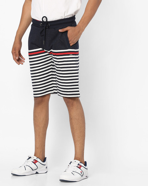 Striped Slim Fit Shorts With Drawstring Waist By PROLINE ( Navy )