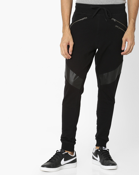 Terry Knit Joggers With PU Panels By Garcon ( Black )