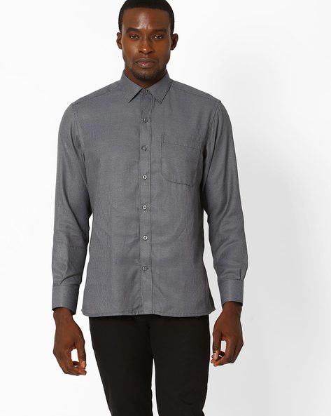 Formal Shirt With Pattern Weave By JOHN PLAYERS ( Black )