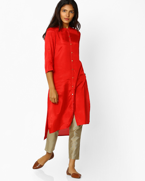 High-Low Kurta With Button Placket By AVAASA MIX N' MATCH ( Red )