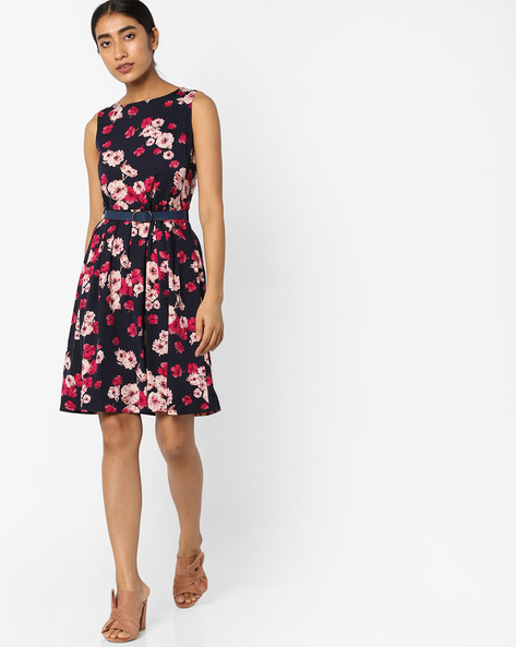 Floral Print Dress With Belt By Tokyo Talkies ( Darkblue )