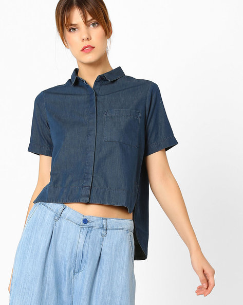 Boxy Top With High-Low Hem By AJIO ( Navyblue )