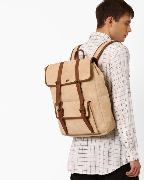 Suede Backpack With Buckle Closure By Atorse ( Beige )
