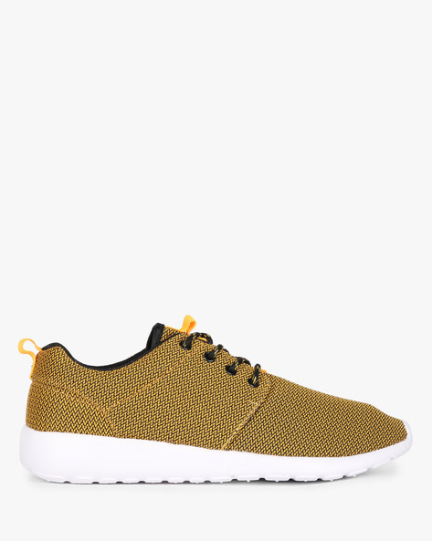 Textured Lace-Up Panelled Sneakers By AJIO ( Yellow )
