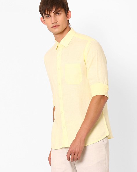 Linen Shirt With Patch Pocket By NETWORK ( Yellow )