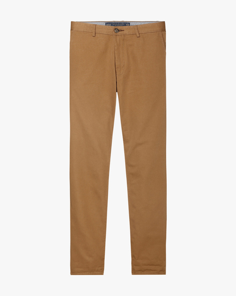 Slim Fit Cotton Trousers By BASICS ( Khaki )