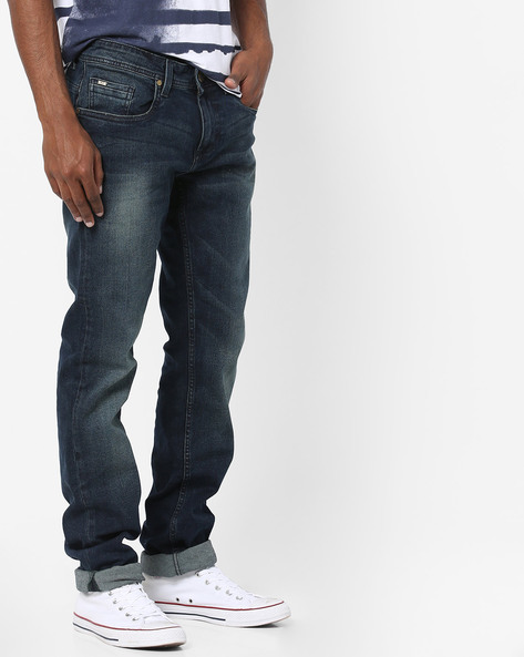 Lightly Washed Torque Fit Jeans By BASICS ( Navy )