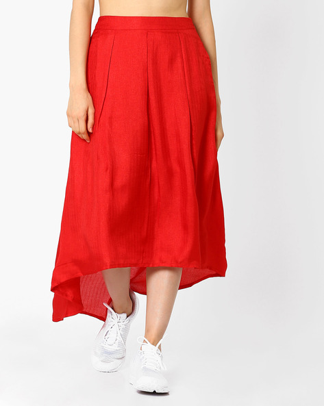 High-Low Pleated Skirt By Global Desi ( Red )