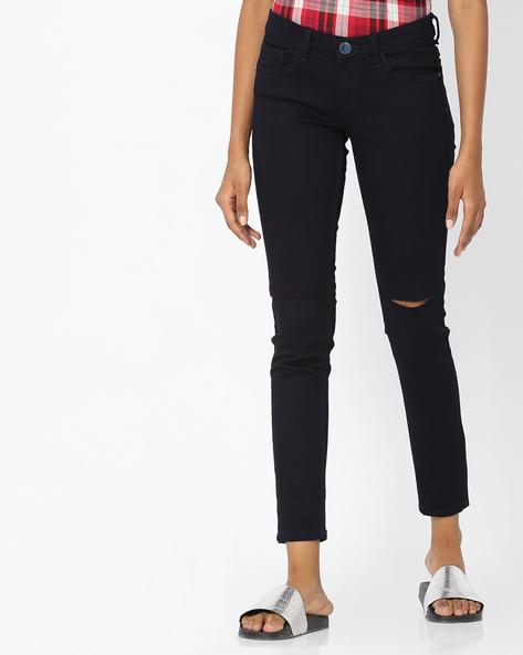 Skinny Fit Distressed Jeans By Tokyo Talkies ( Darkblue )