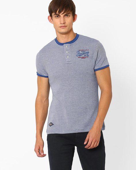 Regular Fit Henley T-shirt By TEAM SPIRIT ( Blue )