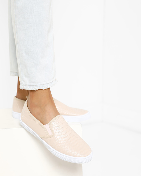 Textured Slip-Ons With Elasticated Gussets By Lavie ( Lightpink )